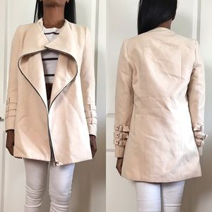 Forever 21 Waterfall Lapel Wooly Zip Up Coat